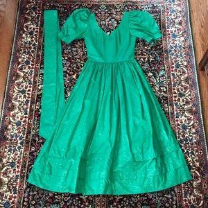 LAURA ASHLEY midi Dress US8 UK10 Damask cotton